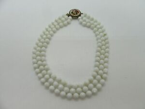 """Stainless Steel Necklace White Bead 16.5"""""""