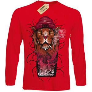 Fashion '85 Lion T-Shirt cool smoking Mens Long Sleeve