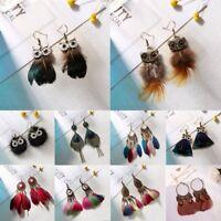 Boho Women Feather Geometric Hollow Owl Dangle Drop Earrings Jewelry Party Gift