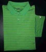 Nike Golf Shirt Golf Polo XXL Nike FIT DRY Green White Stripes Swoosh Logo c972