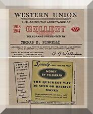 WESTERN UNION TELEGRAPH CO.  COLLECT TELEGRAM AUTHORIZATION CARD, 1946-1947