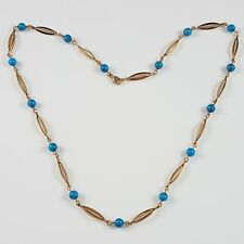VINTAGE 14CT 585 YELLOW GOLD & TURQUOISE BEAD NECKLACE 18 1/2 INCHES 10.3 GRAMS