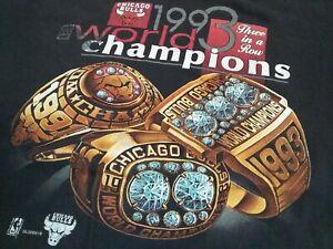 VTG 90s NBA Chicago Bulls 1993 World Champions Champs Ring T Shirt BLK X-Large