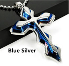 Cross+Pendant+Necklace+Blue+Stainless+Steel+Unisex%27s+Chain+Crucifix+Men+Women