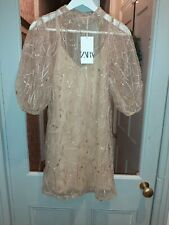 Zara Nude gold Organza Embroidered Sequin Dress Puff Sleeves, UK Size S New
