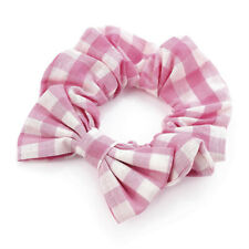 Baby Pink Gingham Hair Scrunchies Bow Scrunchy Girls Hair Accessories School