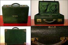 HARRODS London ANTICA VALIGIA DA UOMO PELLE VERDE 1930 Vintage Man Suitcase