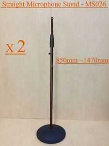 2x Haze MS026 Microphone Stands,Metal Structure,Straight,Round Base-Brand New
