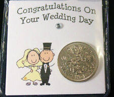 LUCKY SIXPENCE COIN KEEPSAKE BRIDE & GROOM FOR GOOD LUCK WEDDING