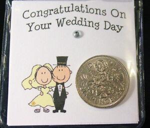 LUCKY SIXPENCE COIN KEEPSAKE BRIDE & GROOM FOR GOOD LUCK WEDDING