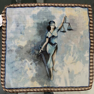 """100% Pure Silk Pocket Square Made In Italy with """"Justice Law"""" design NWT"""