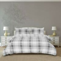Sleepdown Check Grey Reversible Duvet Covers with Pillowcases all Sizes
