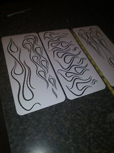 GHOST FLAMES PINSTRIPE Airbrush Stencil Motorcycle FLAMES 3 Pack