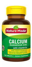Nature Made Calcium Magnesium Zinc with Vitamin D 100 Tabs Supplement