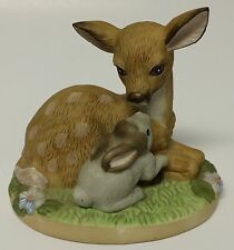 Enesco Friends Of The Forest Figurine Teach Me To Fly Deer Bunny Rabbit 1988