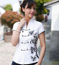 white Chinese Women's evening Top  cotton blouse Dress/ T-shir sz:6-16