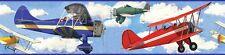 Peel & Stick VINTAGE AIRPLANES WALLPAPER BORDER Boys Nursery Planes Wall Decor