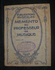 Memento du Professeur de Musique - Niverd Alençon - Ed. Weiller - partitions