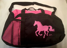 Lila Galloping Horse Duffle Bag Snaffle Bitt Zipper Pull Mesh Pocket