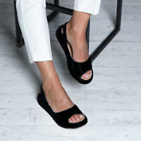 Summer Womens Wedge Slingback Sandals Open Toe Casual Flat Heels Slippers Shoes