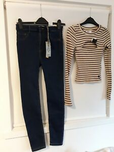 GIRLS * PULL AND BEAR JEANS WAIST / HOLLISTER TOP SIZE S NEW WITH TAGS