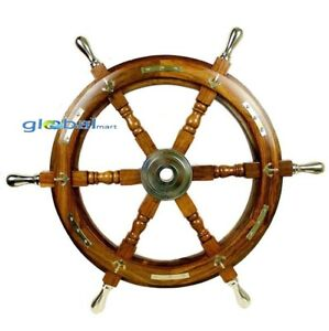 """24"""" Nautical Antique Wooden Ship Steering Wheel Decor Brass Handle Wall Boat"""