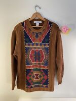 Vintage JH Collectables Medium Sweater. Tribal Design With Faux Leather Weave