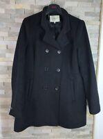 Lk Bennett Padies Size 16 Black Wool Cashmere Double Brested Overcoat Jacket