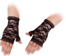 Orl - Spitzen Handschuhe fingerlos zu Karneval Fasching Halloween