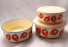 Enamelware Bowls Kobe Red Strawberry Off White Cream Color Nesting Set of 3