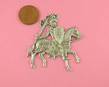 Silver Plated Brass Knight On Horseback Stamping - 1 Pc(s)