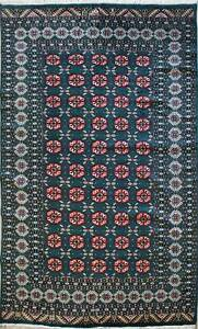 Rugstc 6x9  Bokhara Jaldar Green Area Rug,Genuine Hand-Knotted, Wool Pile