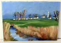 """12"""" Vintage Oil Painting Canvas Lucille Bodiford Old Village View Small Bridge"""