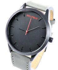 AUTHENTIQUE bellfield hommes Obscure rouge et noir cadran montre avec gris