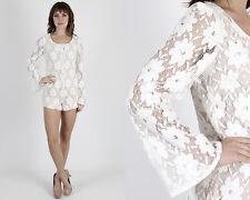 Vintage 60s Mod Wedding Romper White Floral Crochet Lace Bell Slv Mini Dress S