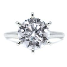 3 Ct Round Cut Diamond Solid 18k White Gold Solitaire Engagement Promise Ring