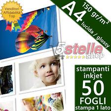 50 FOGLI CARTA FOTOGRAFICA A4 PREMIUM FOTO GLOSSY LUCIDA 150 GR. STAMPA INKJET