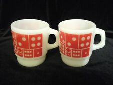 Pair Fire-King stacking mugs cups red dominoes bright and shiny