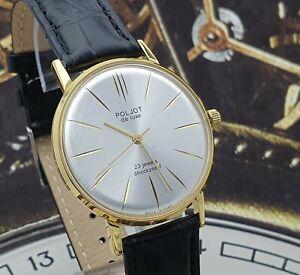 Poljot De Luxe Dress ULTRA SLIM Silver Dial Mechanical Watch Vintage Style USSR