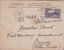 1921 TURKEY Commercial Reg cover, single 10Pi Landscape front & next 6 stamps