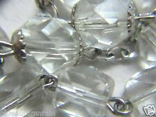 † UNUSUAL HTF VINTAGE STERLING & CLEAR CRYSTAL SQUARED / CUBED ROSARY NECKLACE †