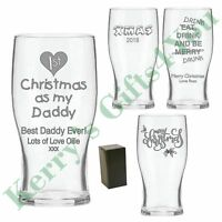 Christmas Gifts For Men Him - Engraved Beer Glass - Daddy Dad Grandad Papa Gift
