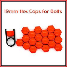 19mm HEX TAPPI PER BULLONI DADI AUTO copre RUOTE IN LEGA TUNING ROSSO BRILLANTE 20 PC