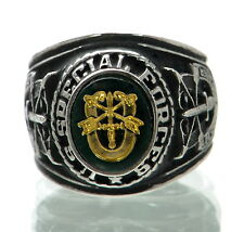 Made in USA Men's US Special Forces Rhodium Plated Military Ring Size-9 '