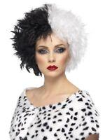 Smiffys Evil Madame Dalmatians Black & White Villain Halloween Costume Wig 42117