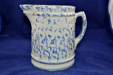 Vintage Spongeware Pitcher, Blue and White (Oatmeal), 6.5 inches tall