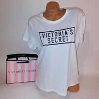 Victoria Secret T Shirt Womens XL White Black VS Logo Bling Studded Short Sleeve