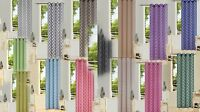 "2PC GEOMETRIC PRINTED GROMMET VOILE SHEER PANELS WINDOW CURTAIN DRAPE 84"" #S38"