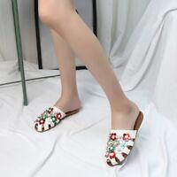 Womens Summer Bohemia Flower Flat Slippers Flip Flops Beach Sandals Shoes Mules