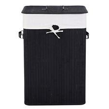 Bamboo Laundry Hamper Basket Wicker Clothes Storage Bag Bin Organizer Lid Black